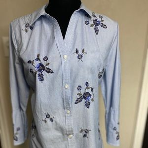 Charter Club blue and striped sequined blouse